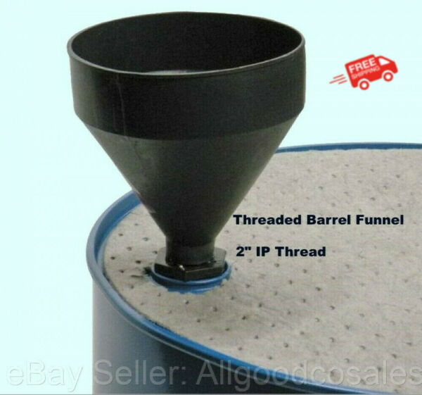 55 Gallon Barrel Funnel *Threaded for Drums w 2quot; Bung Opening* 3 Quart Black $19.75