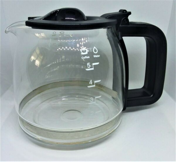 Amazon Basics 4 5 Cup Glass Replacement Coffee Pot Carafe with Black Lid
