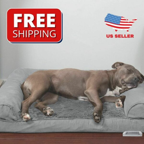 Dog Bed Sofa Pet Beds Plush Suede Comfy Couch OrthopedicSoft Dogs Cats Furhaven $55.95