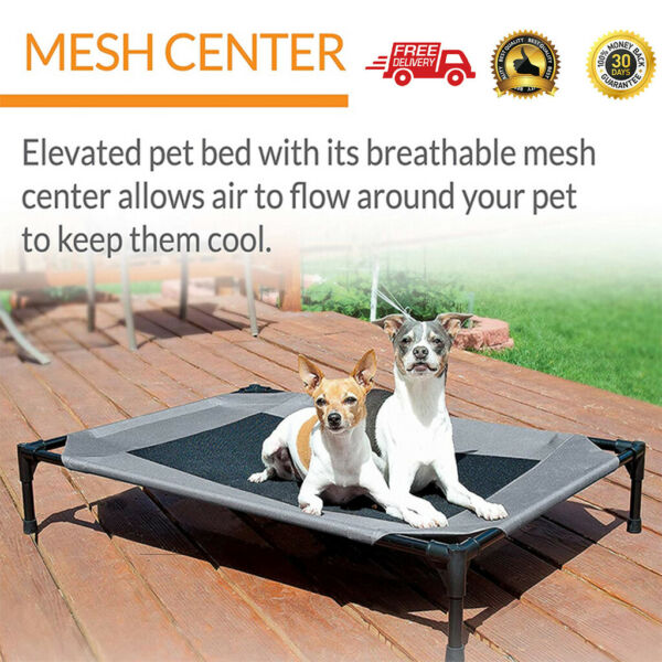 Cooling Elevated Dog Bed Lounger Sleep Pet Cat Raised Cot Hammock Indoor Outdoor $26.79
