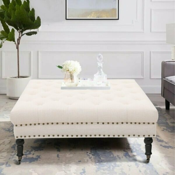 Modern 34quot; Ottoman Bench Furniture Living Room Footstool Coffee Table Beige