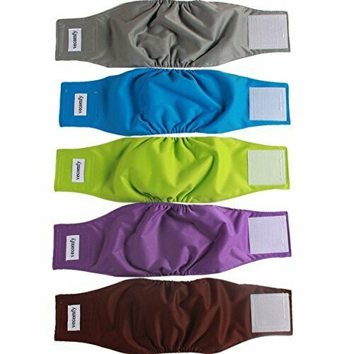 Male Dogs 5 Pack Washable Reusable Small Dog Belly Wrap Leakproof Puppy Diapers $27.14