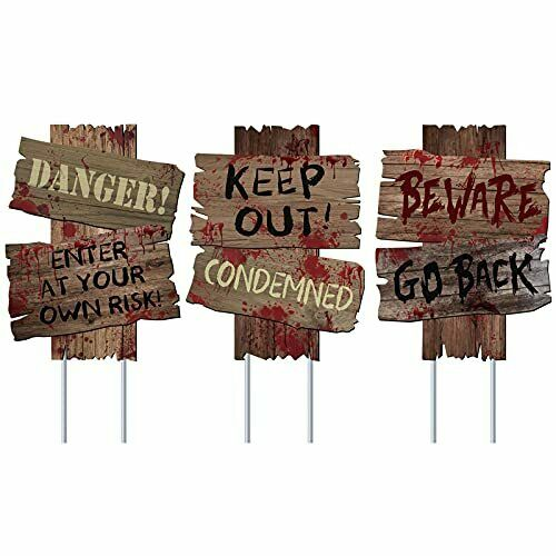Halloween Decorations Beware Signs Yard Stakes Outdoor 3 Pieces 12quot; x 9quot; $16.86
