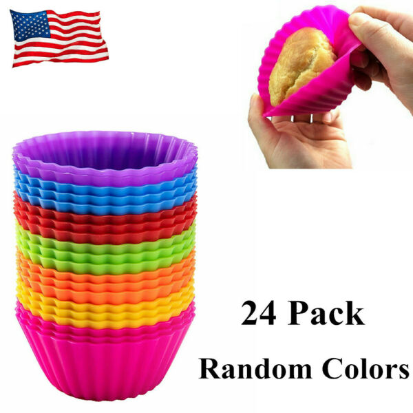 Silicone Muffin Liners Cupcake Baking Cup Cookie Mold 24 Pack Reusable Nonstick