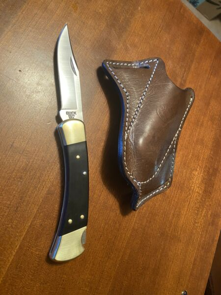 BUCK 110 USED WITH LEATHER CROSS DRAW SHEATH EXC USA