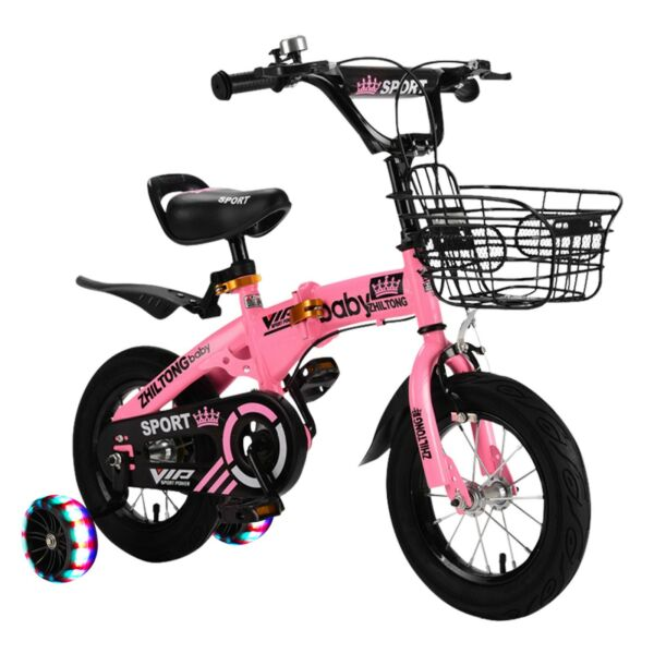 Children#x27;s Folding Bike Boys And Girls Free Bicycle 12 Inch With Training Wheels $67.32