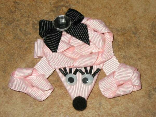 NEW quot;POODLE DOGquot; Girls Spring Ribbon Hairbow Clip Bow Boutique Puppy Pink Paris $3.99