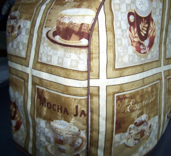Coffee Mocha Latte Quilted Fabric Keurig Platinum Brewer Cover NEW
