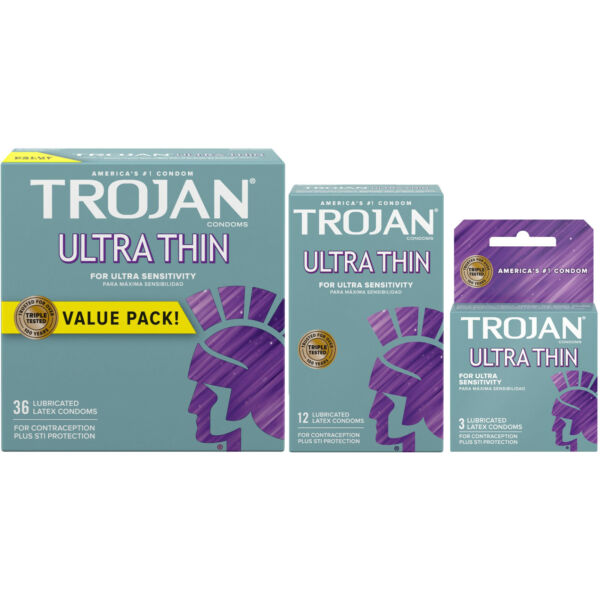 Trojan Ultra Thin Ultra Sensitivity Lubricated Condoms - Choose Quantity