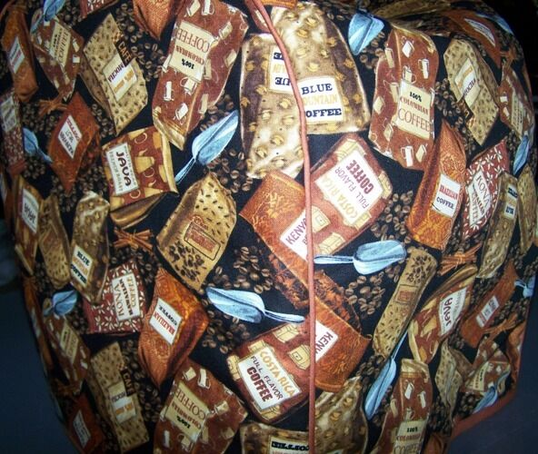 Coffee Bags Beans Quilted Fabric Keurig Platinum Brewer Cover NEW