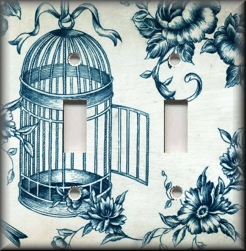 Metal Light Switch Plate Cover Vintage Bird Cage Toile Shabby Chic Decor Toile