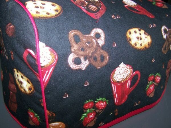 Chocolate Lovers Delight Quilted Fabric 2 Slice or 4 Slice Toaster Cover NEW