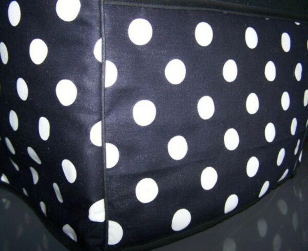 Black Polka Dots Quilted Fabric 2 Slice or 4 Slice Toaster Cover NEW