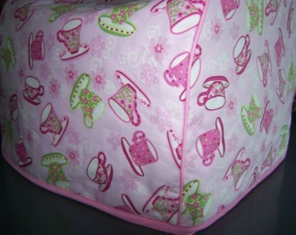 Tea Party Teacups Quilted Fabric 2 Slice or 4 Slice Toaster Cover NEW