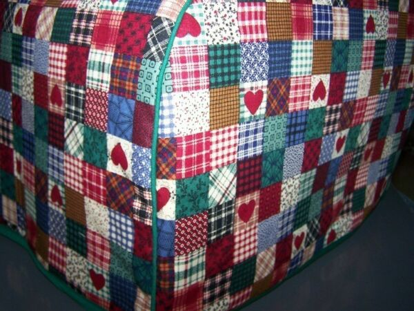 Homespun Patchwork Hearts Quilted Fabric 2 Slice or 4 Slice Toaster Cover NEW