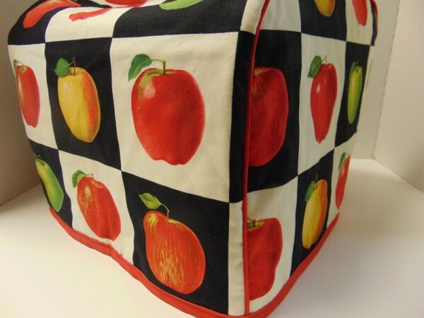 Apple Blocks Quilted Fabric 2 Slice or 4 Slice Toaster Cover NEW