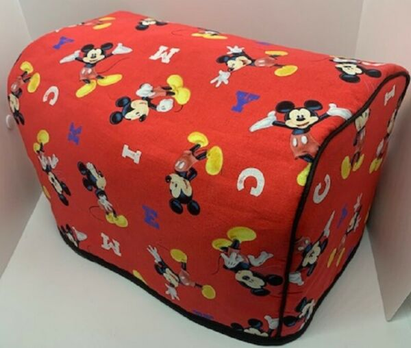 Mickey Mouse Quilted Fabric 2 Slice or 4 Slice Toaster Cover NEW