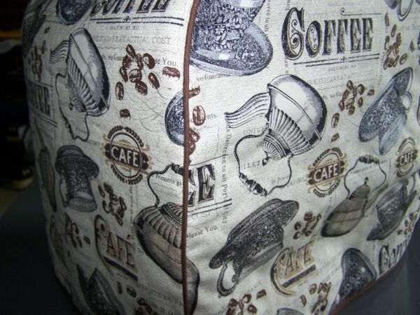 Antique Coffee Cafe Quilted Fabric Keurig Platinum Brewer Cover NEW