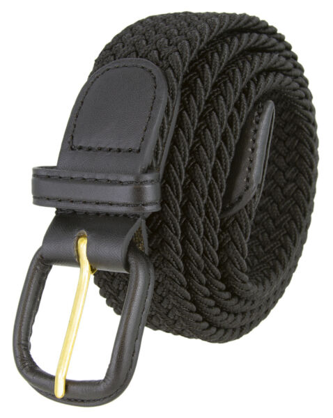 Black Leather Covered Buckle Woven Elastic Stretch Belt 1-14