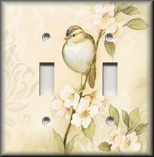 Metal Light Switch Plate Cover - Song Bird Flowers Shabby Chic Home Decor Tan