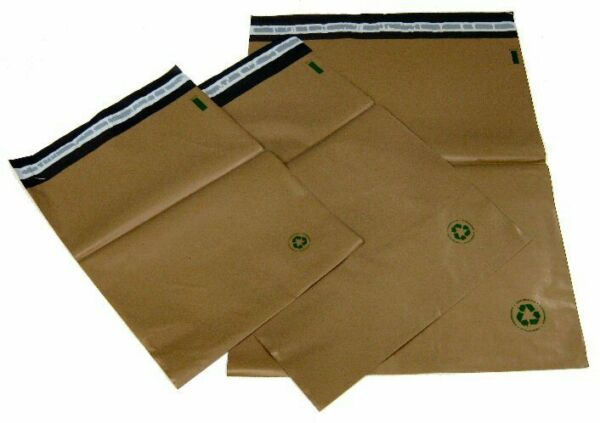 Biodegradable Poly Bag Mailers 25 #5 12 x15.5 Brown Eco Friendly Unlined SS $13.83