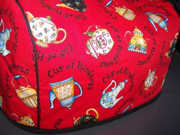 Cup of Kindness Teapots Quilted Fabric 2 Slice or 4 Slice Toaster Cover NEW