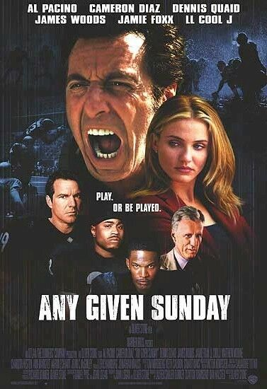 ANY GIVEN SUNDAY CAST 27x39 MOVIE POSTER Al Pacino Cameron Diaz Football