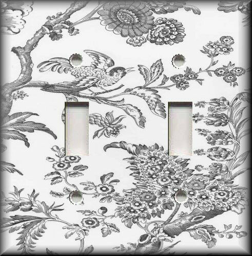 Metal Light Switch Plate Cover - Black White Toile Decor Bird Toile Home Decor