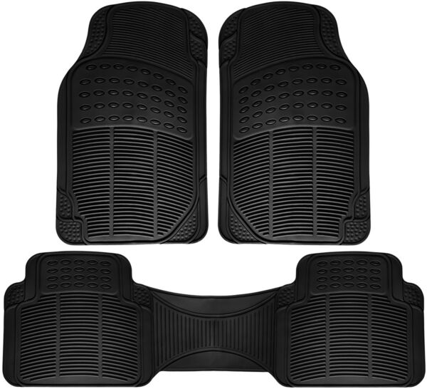 Car Floor Mats for Ford Mustang 3pc Set All Weather Rubber Semi Custom Fit Black