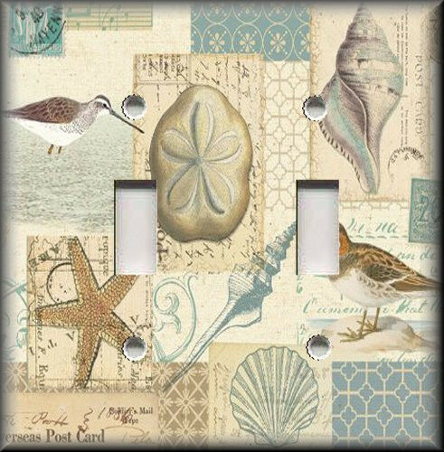 Metal Beach Light Switch Plate Cover - Shells Birds Beach Decor - Coastal Decor