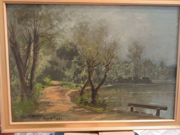 1891 Signed Charles H. Miller Oil Painting on board 17 x 23 Bayside Long Island