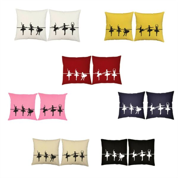 SET OF 2 RoomCraft Cotton Canvas Ballet Dancers At The Barre Cushions USA Made $49.99