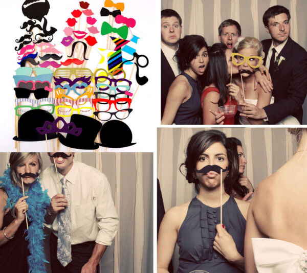 58pcs DIY Photo Booth Props Mask On A Stick Mustache Wedding Birthday Decoration