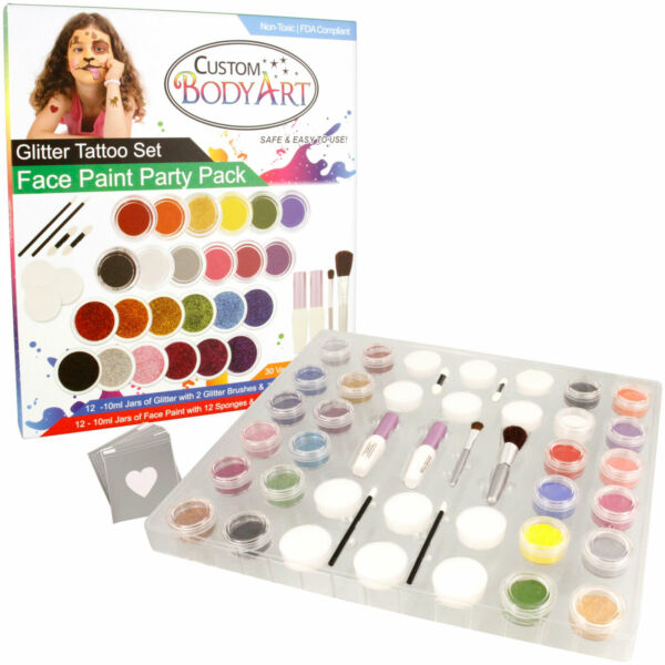 Custom Body Art 24 Face Paint Color Party Pack Glitter Tattoo Set 30 Stencils