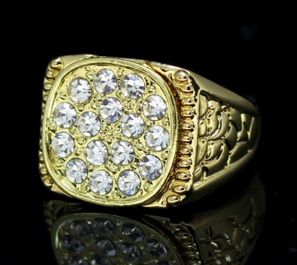Mens Nugget Design 14k Gold Plated AAA Cz Pinky Ring