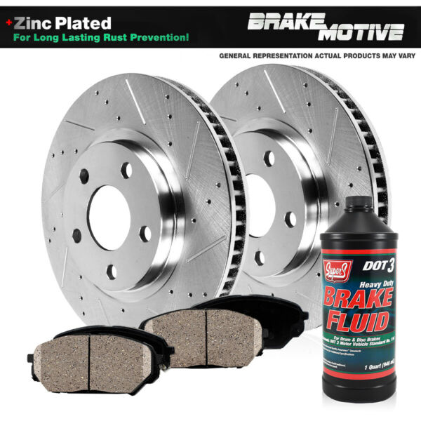 Front Drilled And Slotted Brake Rotors & Ceramic Pads Acura MDX ZDX Honda Pilot