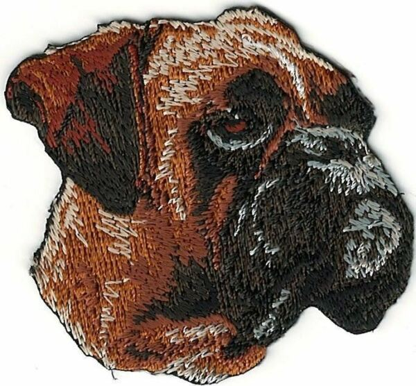 2quot; x 2 3 8quot; Boxer Dog Breed Portrait Looking Right Embroidery Patch $2.99
