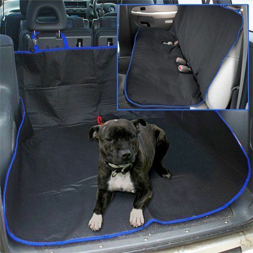 BLUE 2 IN 1 WATERPROOF CAR REAR BACK SEAT COVER PET DOG PROTECTOR BOOT MAT LINER GBP 7.95