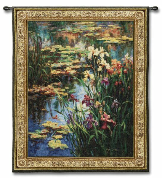 FLOATING WATER LILLIES POND FLORAL ART TAPESTRY WALL HANGING 39x52