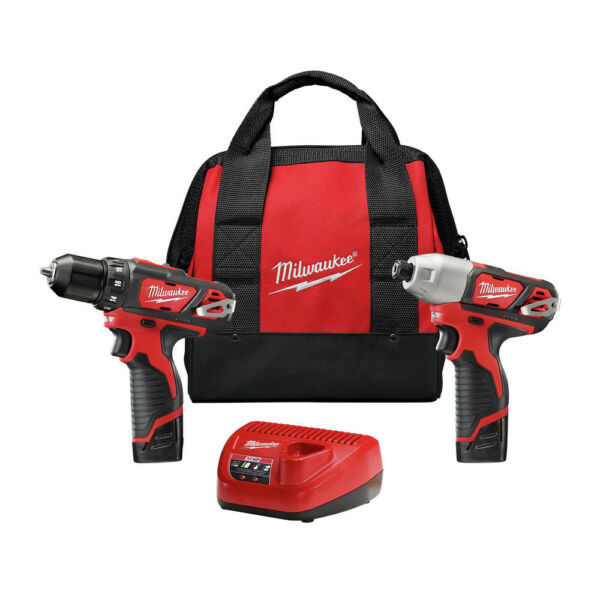 Milwaukee 2494-22 M12 3/8 in. Drill Driver and 1/4 in. Impact Driver Kit Refurb