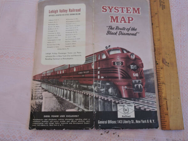 RARE 1950 LVRR Lehigh Valley Railroad Transit New York System MAP Brochure NYC $69.99