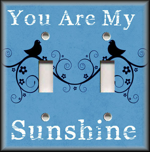 Metal Light Switch Plate Cover - You Are My Sunshine Decor Birds Blue Home Decor