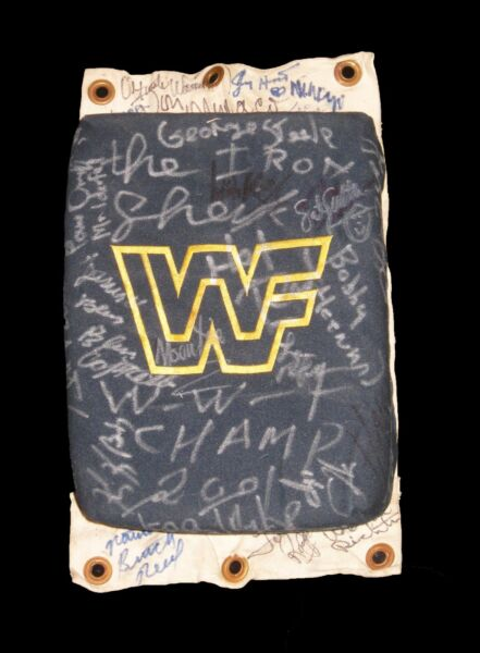 WWF WWE RING USED TURNBUCKLE HAND SIGNED BY 51 LEGENDS + HOF AND DECEASED + COA