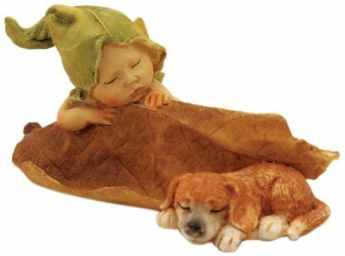 Miniature Sleeping Fairy Baby with Puppy Dog TO 4135 Fairy Garden $13.50
