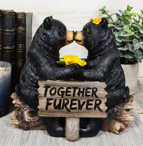 Whimsical Wedding Vows Black Bear Couple Kissing By Tree Log Statue 7quot; Tall