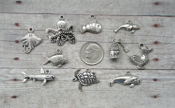 10pc or 5pc Finding Dory Themed Charm Set Lot CollectionDuckPail FishShark