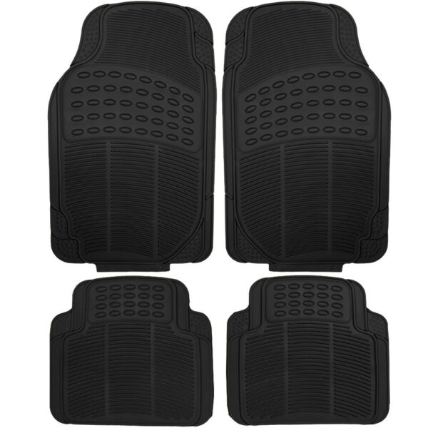 4pc Car Floor Mats Fits All Weather Rubber Semi Custom Fit Heavy Duty Black