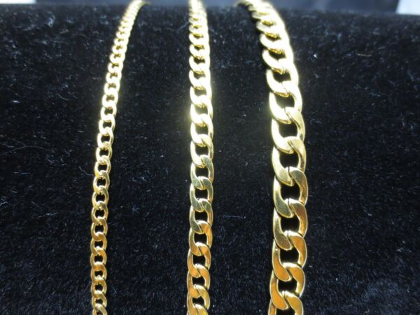 3 5 7mm MEN WOMEN STAINLESS STEEL GOLD CURB CUBAN CHAIN NECKLACE 18quot; 60quot; GOLD