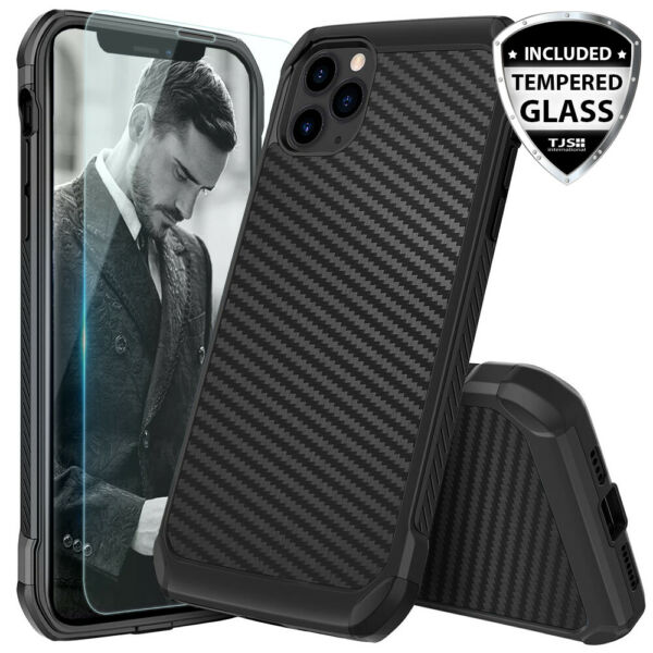 For iPhone 12 11 Pro Max XS XR X 8 7 Plus Carbon Fiber Hard CaseTempered Glass