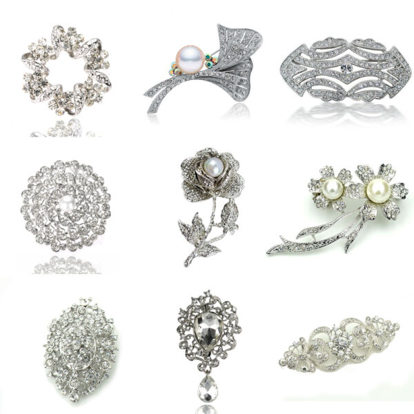 Luxury Vintage Style Bridal Wedding Prom Corsage White Flower Brooch Decoration